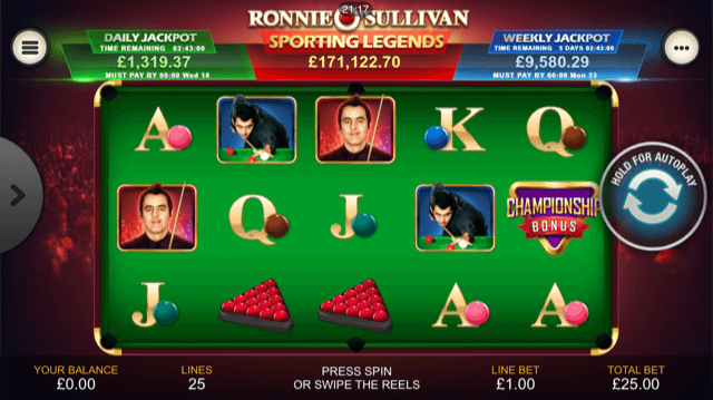 Ronnie-OSullivan-Sporting-Legends-Slot-Review-Screenshot