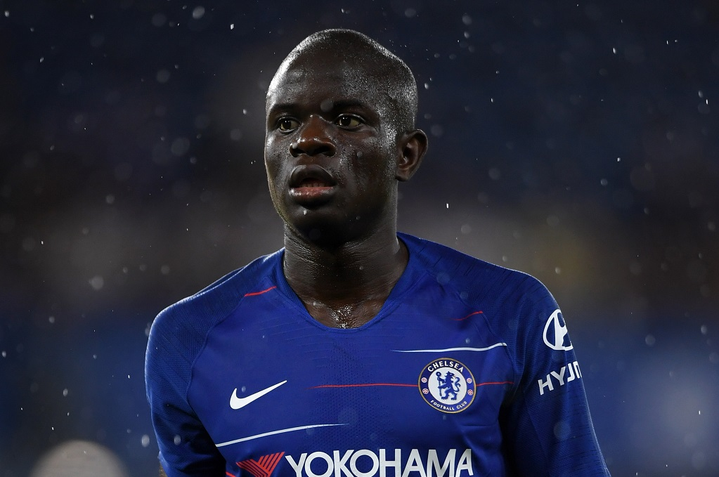 LONDON, ENGLAND - AUGUST 07:  N'golo Kante of Chelsea looks on during the pre-season friendly match between Chelsea and Lyon at Stamford Bridge on August 7, 2018 in London, England.  (Photo by Mike Hewitt/Getty Images)