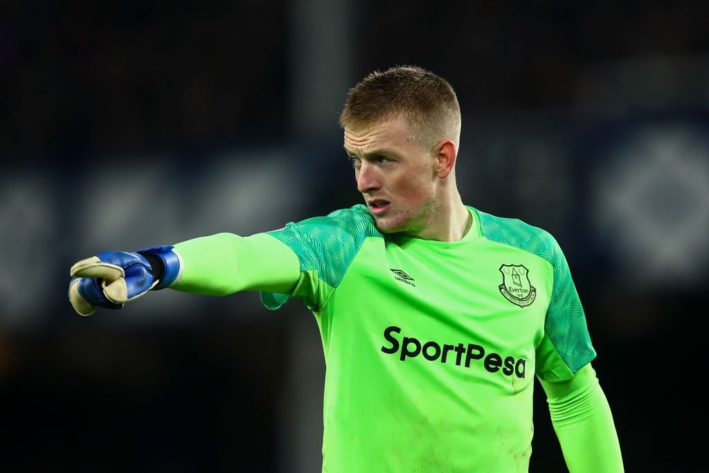 LIVERPOOL, ENGLAND - DECEMBER 23: Jordan Pickford of Everton during the Premier League match between Everton FC and Tottenham Hotspur at Goodison Park on December 23, 2018 in Liverpool, United Kingdom. (Photo by Robbie Jay Barratt - AMA/Getty Images)